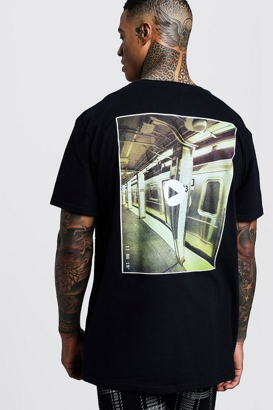 Oversized Photo Back Print T-Shirt