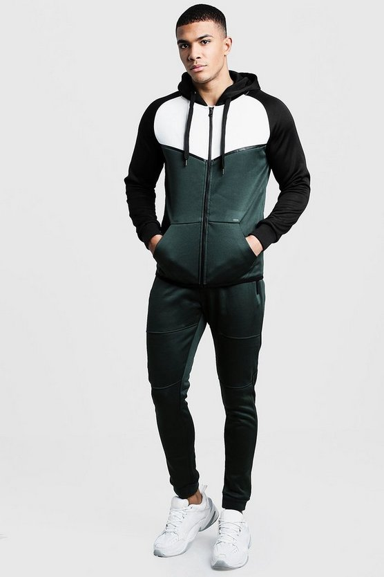 Colour Block Tricot Zip Through Tracksuit