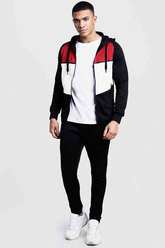 Tricot Colour Block Curve Hem Zip Hooded Tracksuit