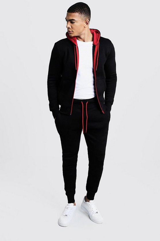 Zip Hooded Tracksuit With Red Contrast Zip