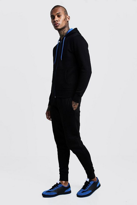 Mens Black Zip Hooded Tracksuit With Blue Contrast Zip