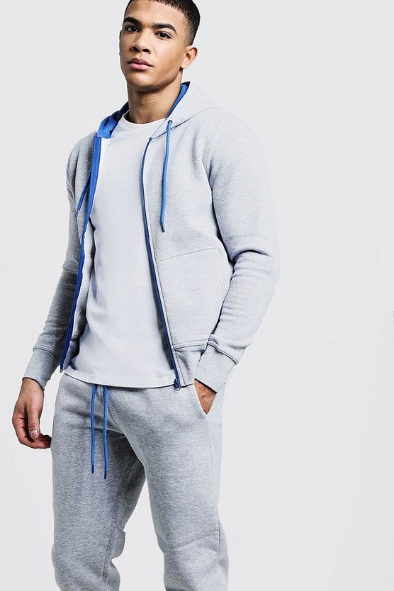Zip Hooded Tracksuit With Blue Contrast Zip