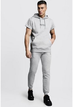Mens Grey marl Original MAN Short Sleeve Hooded Tracksuit
