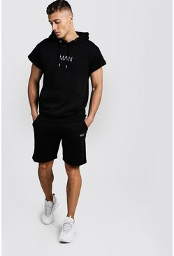 Mens Black Original MAN Short Sleeve Hoodie & Short Set