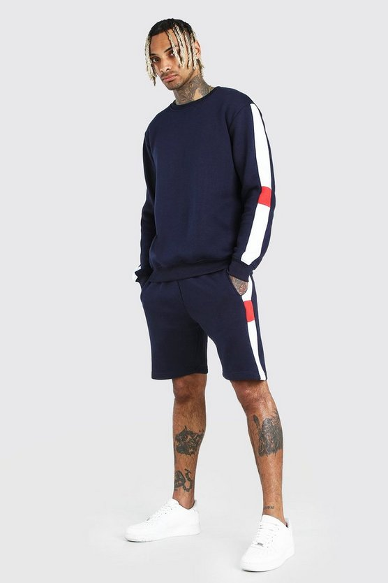 Mens Navy Sweater Short Tracksuit With Side Panels
