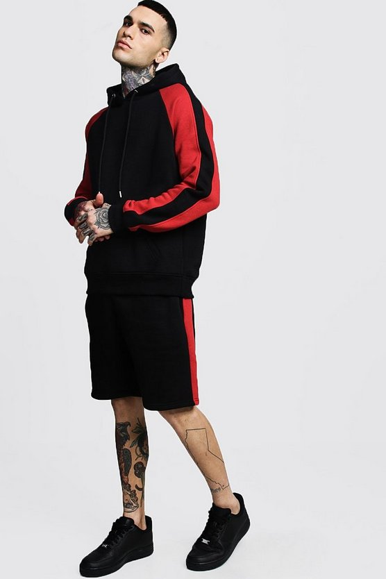 Mens Black Hooded Short Tracksuit With Contrast Panels