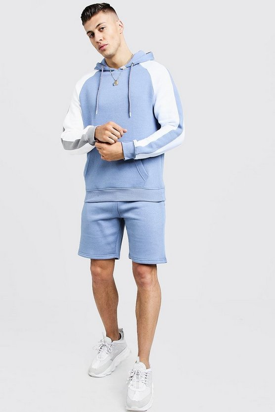 Mens Dusty blue Hooded Short Tracksuit With Contrast Panels