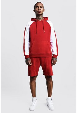 Mens Red Hooded Short Tracksuit With Contrast Panels