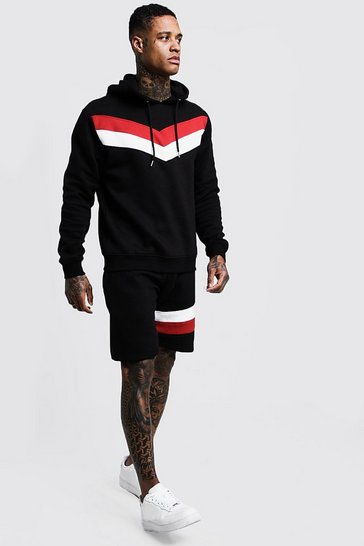 Mens Black Chevron Panel Hooded Short Tracksuit
