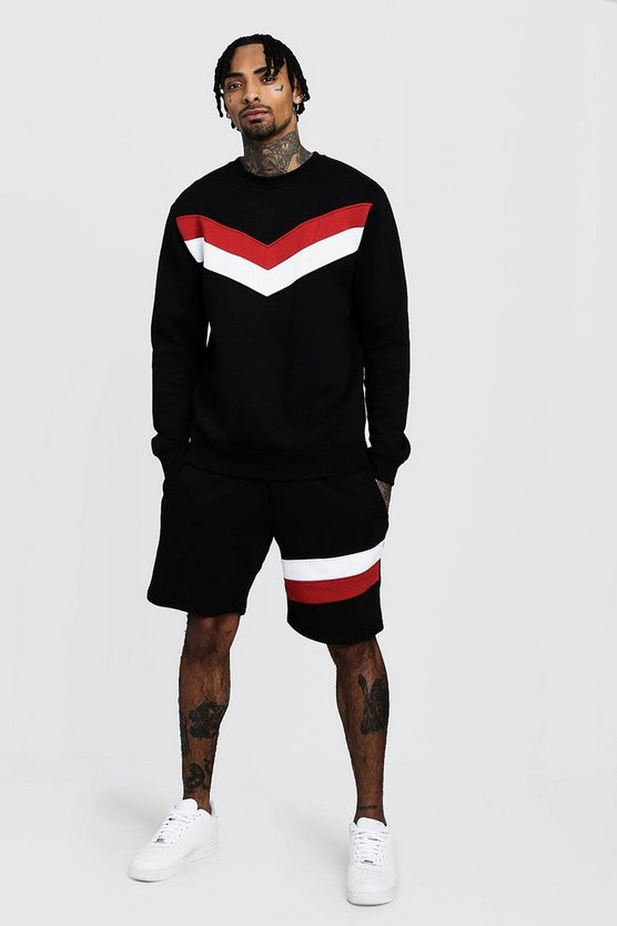 Mens Black Chevron Panel Sweater Short Tracksuit
