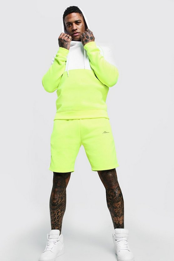 Mens Neon-green MAN Signature Colour Block Short Tracksuit