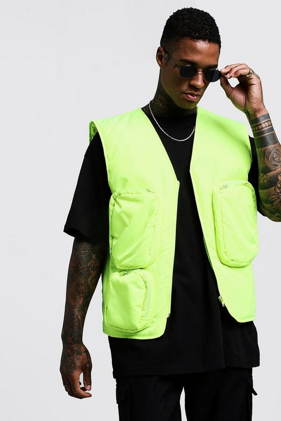 Mens Neon-yellow Sleeveless Neon Utility Vest