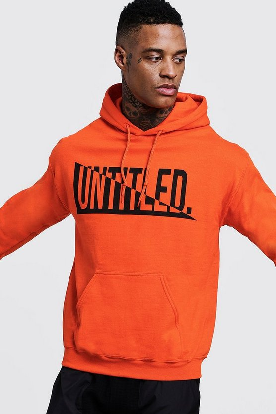 Mens Orange Untitled Chest Print Over the Head Hoodie