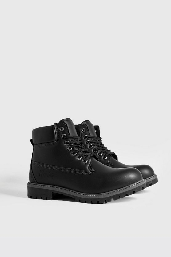 Black MAN Emboss Worker Boot