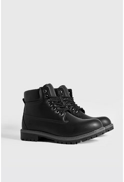 Mens Black MAN Emboss Worker Boot