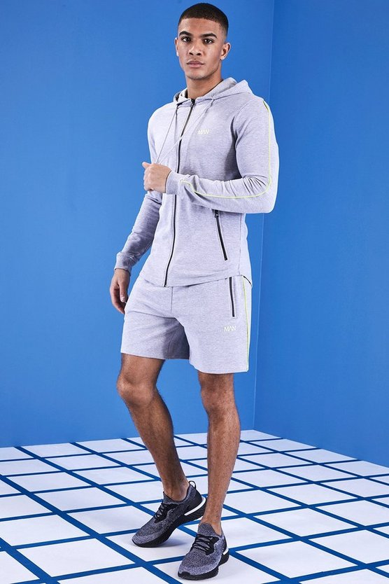 Mens Grey MAN Gym Muscle Fit Short Tracksuit