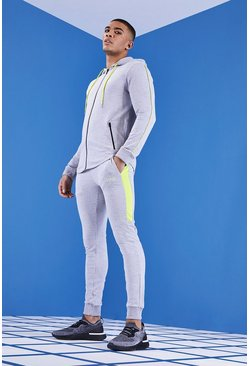 Mens Grey MAN Gym Muscle Fit Tracksuit With 1/4 Zip
