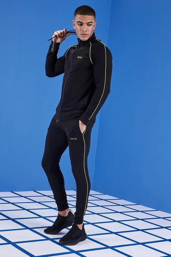 Mens Black MAN Gym Muscle Fit Tracksuit With Funnel