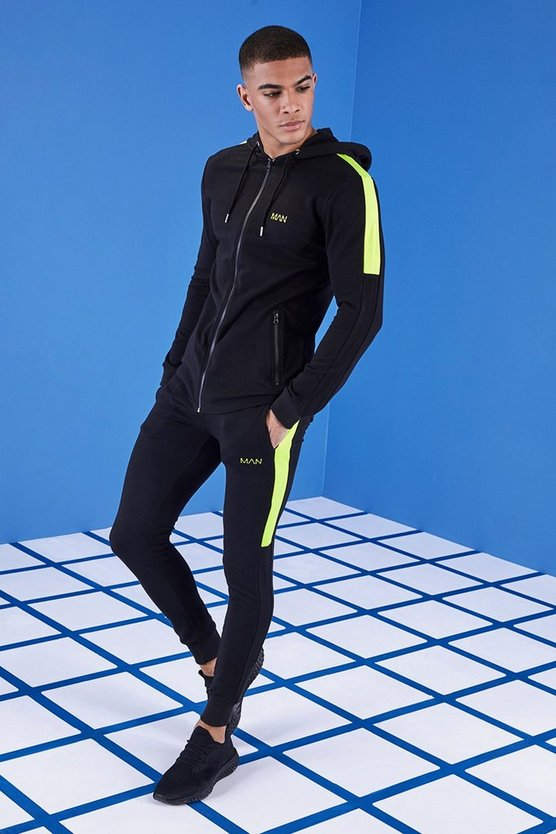 Mens Black MAN Gym Muscle Fit Tracksuit With Zip Hood