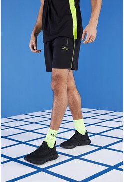 Mens Black MAN Gym Shorts In Mid Length