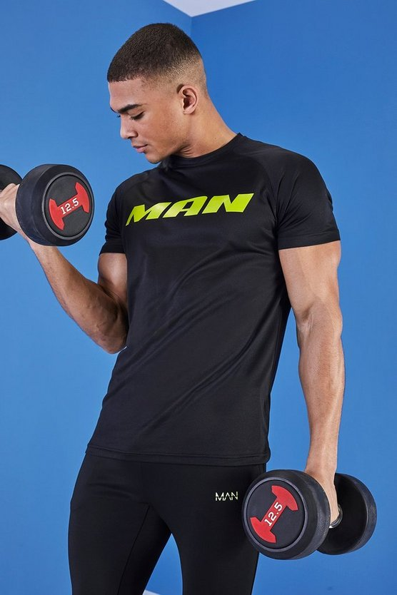 Mens Black MAN Muscle Fit Gym T-Shirt