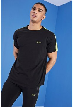 Mens Black MAN Gym T-Shirt With Curved Hem