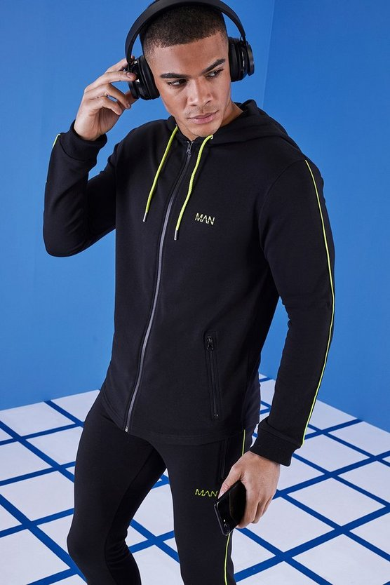 MAN Gym Hoodie With Zip Through Hood