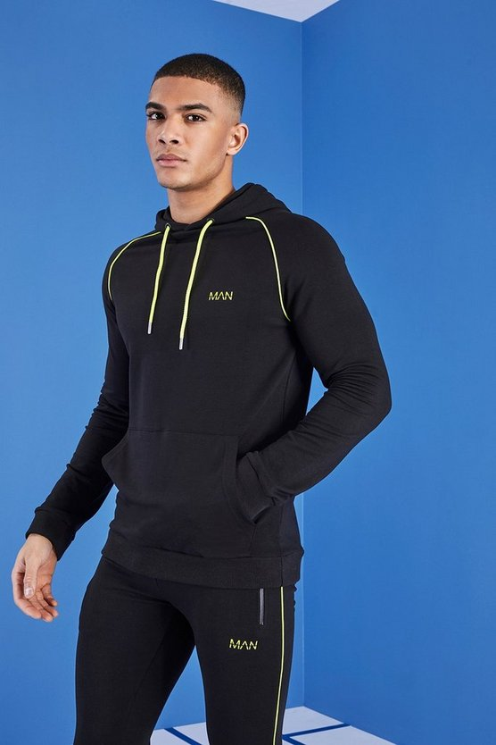 Black MAN Gym Hoodie With Overhead Hood