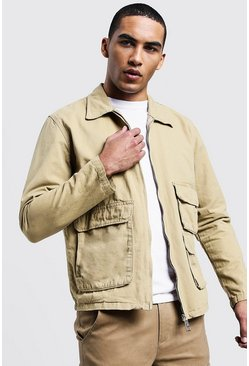 Mens Sand Utility Denim Shacket