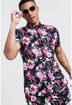 Mens Black Floral Print Short Sleeve Shirt