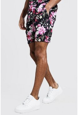 Mens Black Floral Print Drawstring Waist Shorts