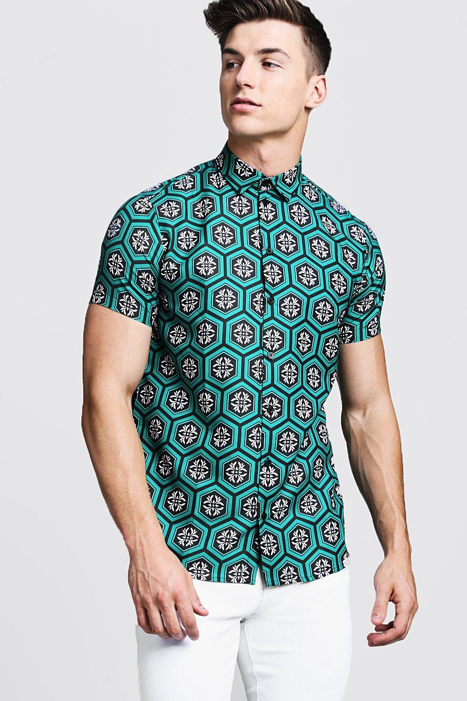 Tile Print Short Sleeve Shirt