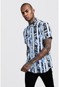 Mens Black Floral Stripe Print Short Sleeve Shirt