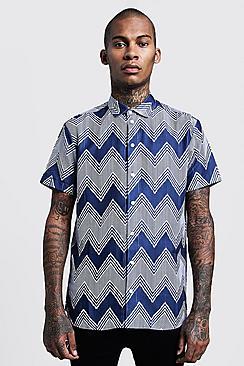 Chevron Print Short Sleeve Shirt