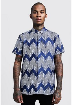 Mens Navy Chevron Print Short Sleeve Shirt