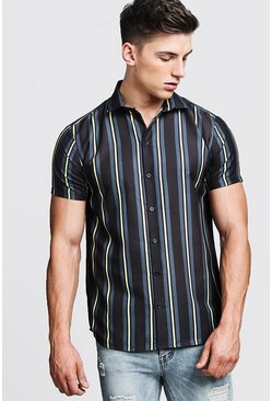 Herr Black Yellow Contrast Stripe Short Sleeve Shirt