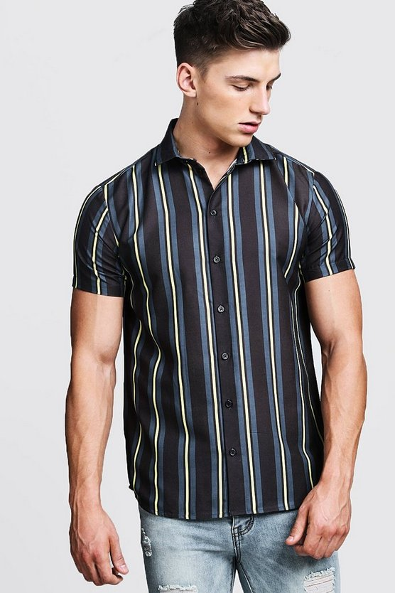 Mens Black Yellow Contrast Stripe Short Sleeve Shirt