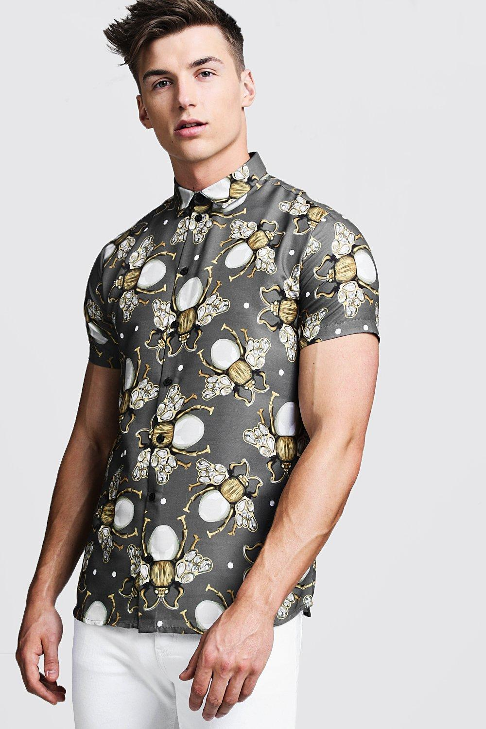 Jewelled Bee Print Short Sleeve Shirt