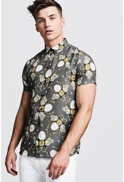 Mens Grey Jewelled Bee Print Short Sleeve Shirt