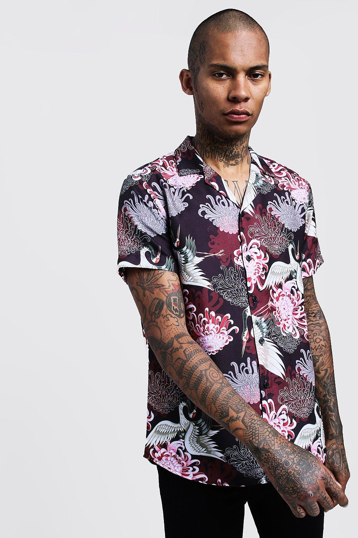 Oriental Print Short Sleeve Revere Shirt