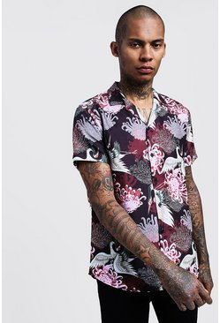 Black Oriental Print Short Sleeve Revere Shirt
