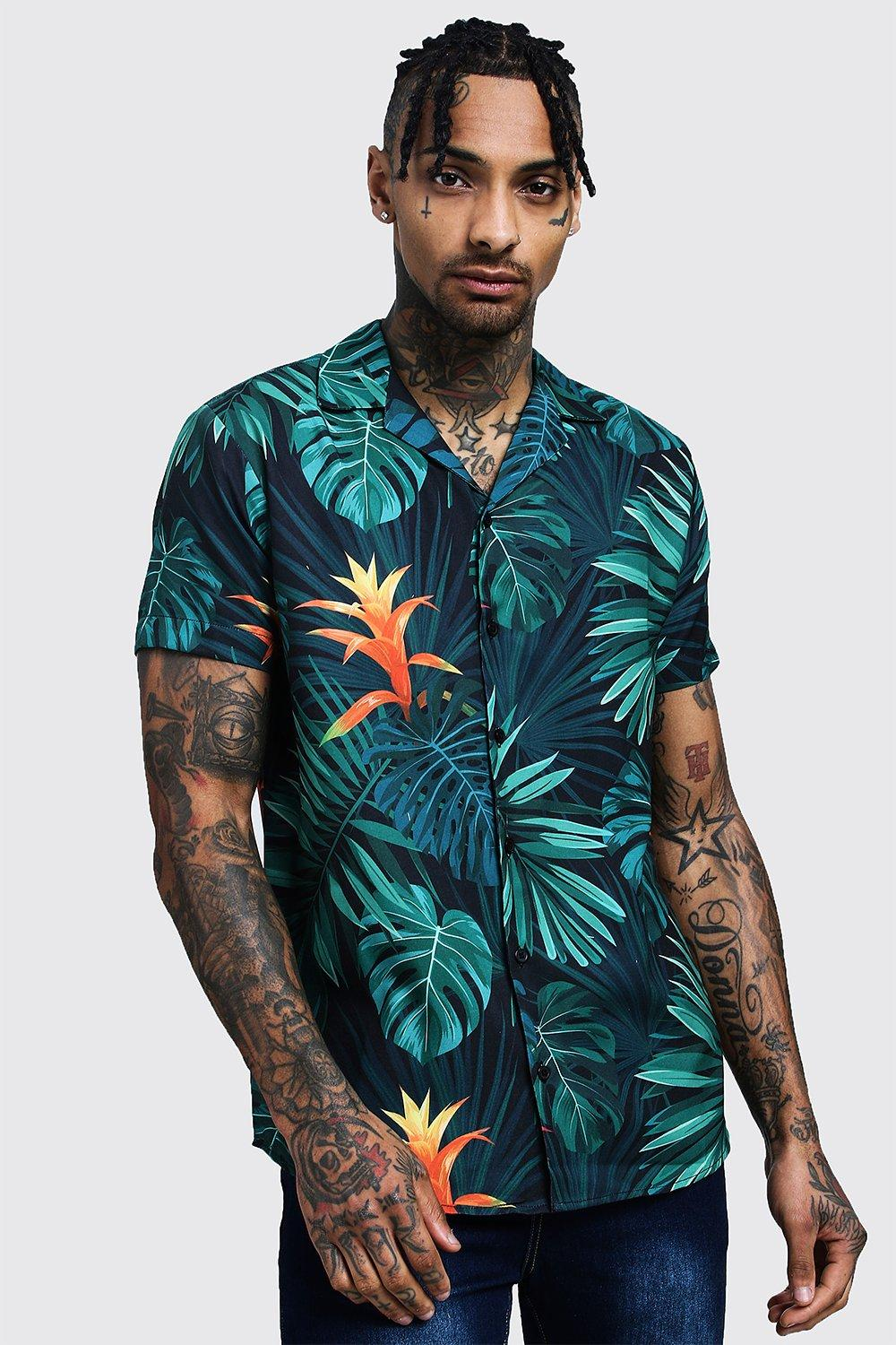 Palm Print Short Sleeve Revere Shirt