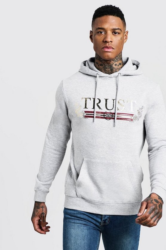 Mens Grey Trust Foil Print Over The Head Regular Hoodie