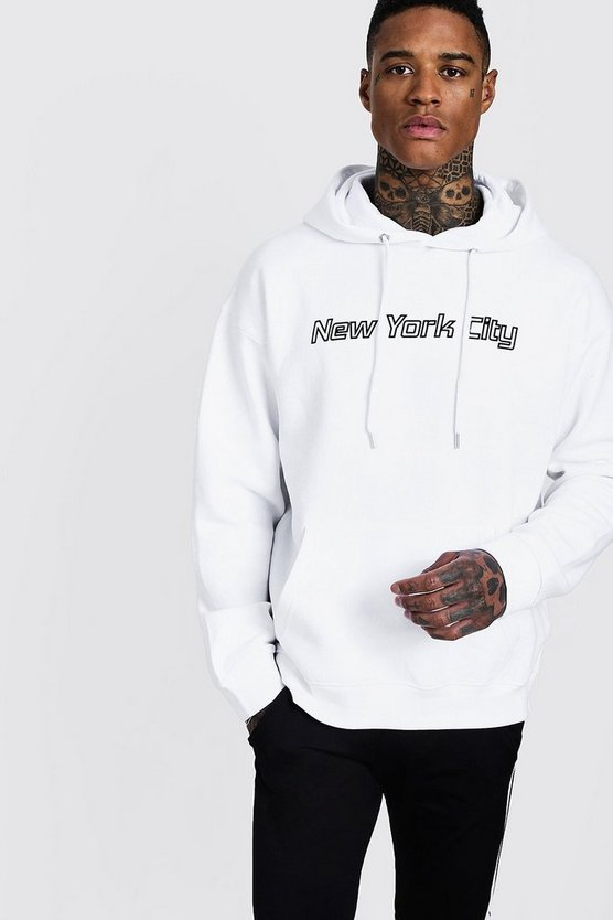 Mens White New York City Slogan Oversized Hoodie