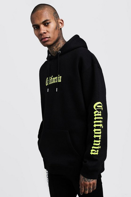 Mens Black California Neon Print Oversized Hoodie