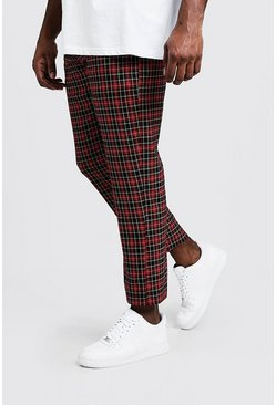 Mens Red Big & Tall Tartan Cropped Trouser