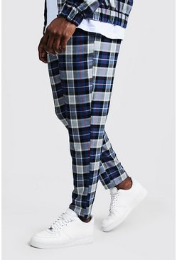 Mens Blue Big & Tall Tartan Check Smart Jogger