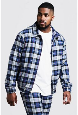 Herr Blue Big & Tall Tartan Check Smart Coach Jacket