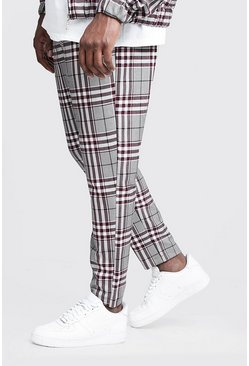 Mens Burgundy Big & Tall Check Smart Jogger