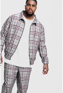Mens Burgundy Big & Tall Check Smart Coach Jacket